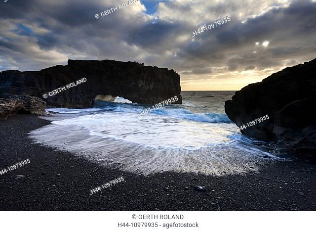 Playa de las Cabras, Spain, Europe, Canary islands, La Palma, sea, coast, rock, cliff, arch, morning light