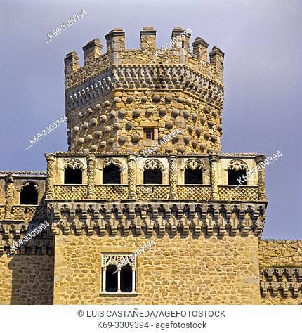Castle of Manzanares El Real. Madrid. Spain. . Manzanares el Real is a 6,140 inhabitant town in the northern area of the autonomous Community of Madrid