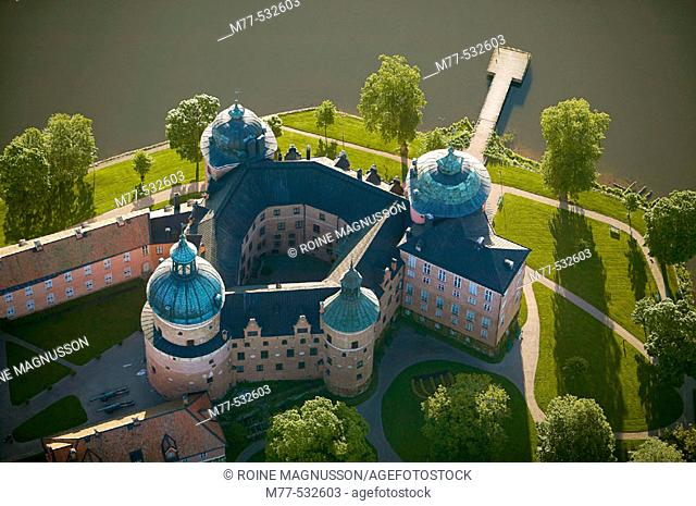 Old castle and lake, aerial view. Gripsholm castle, Mariefred, Södermanland,  Sweden