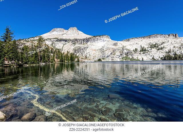Mount Hoffman reflecting off of May Lake. Yosemite National Park, California, United States
