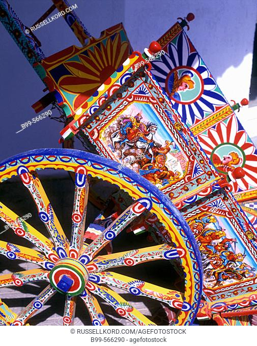 Color:Painted Ox-cart, Selinunte, Sicily, Italy