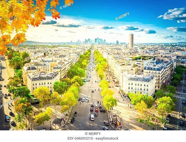 panoramic skyline of Paris city towards La Defense district from above at fall day, France