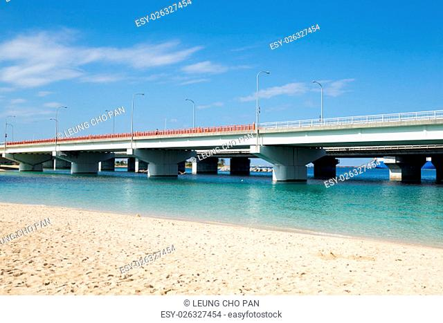 Bridge over the beach in okinawa