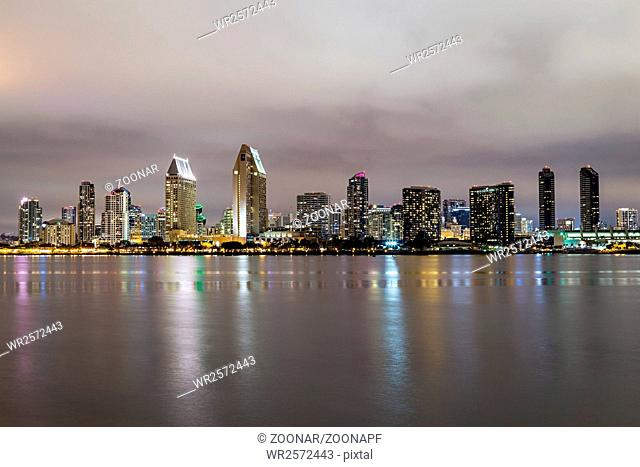 Skyline of San Diego, California downtown by night