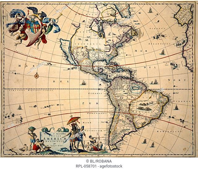 Map of America. Image taken from Novissima et accuratissima totius Americae descriptio. Originally published/produced in Amsterdam 1680