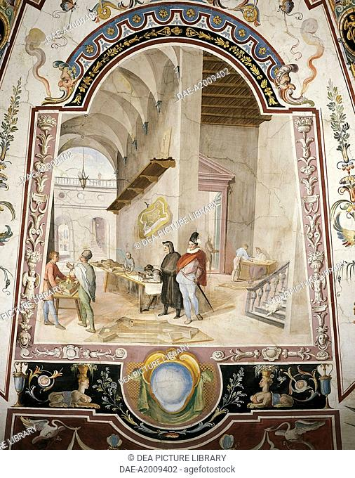 Military architecture studio and grotesque, paintings in tempera with gold touches, by Ludovico Buti (1560-1610). Vault of Room 23, Armory, Uffizi Palace