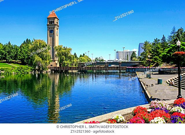 The Great Northern clock tower and U. S. Pavilion in Riverfront Park, Spokane in Washington