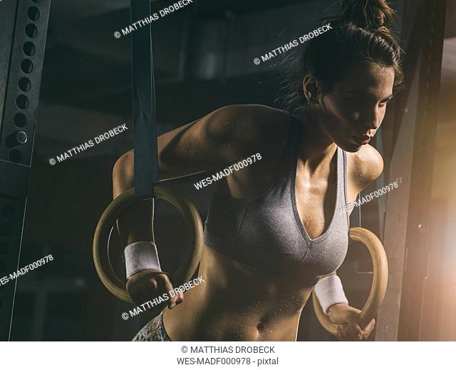 Female athlete, gymnastic rings