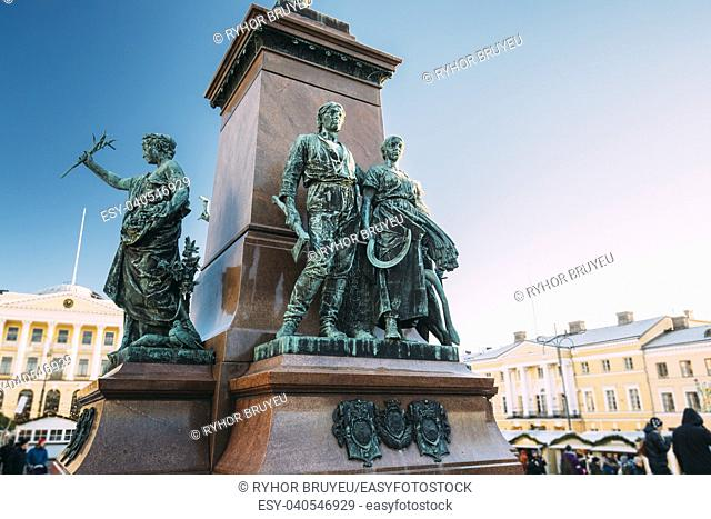 Helsinki, Finland. Details Of Famous Landmark In Finnish Capital Is Monument To Russian Emperor Alexander II In Senate Square