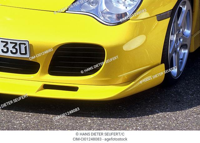 Car, Porsche 911 Turbo Ruf, roadster, coupe, Tuning, model year 2001, yellow, fährt 300 km/h, Detailed view