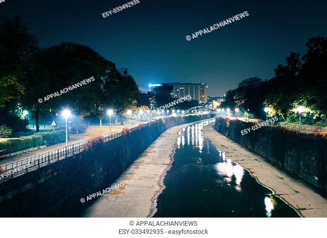 Wienfluss at night, at Stadtpark, in Vienna, Austria