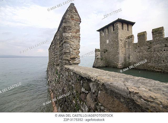 Roca scaligera the castle in Sirmione Garda lake Lombardy Italy
