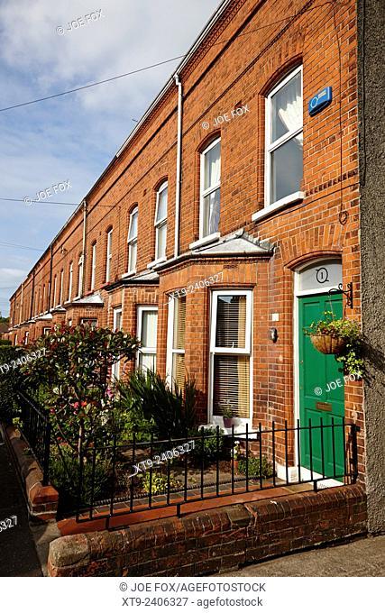 victorian red brick terraced homes in belfast northern ireland uk