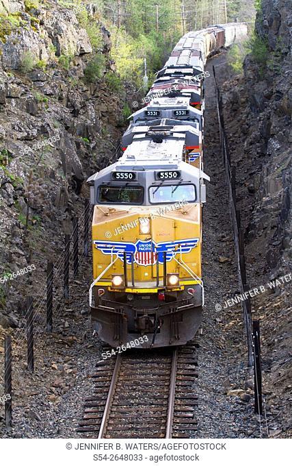 A Union Pacific train in Cheney, Washington, USA