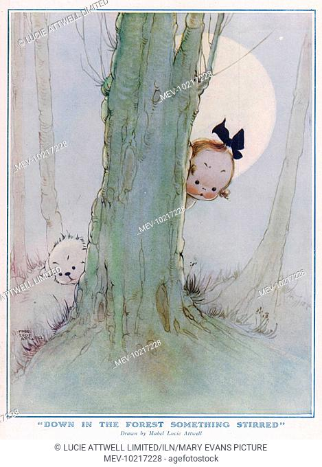 Illustration by Mabel Lucie Attwell (1879-1964) showing a small girl and dog peeping from behind a tree in a woodland setting