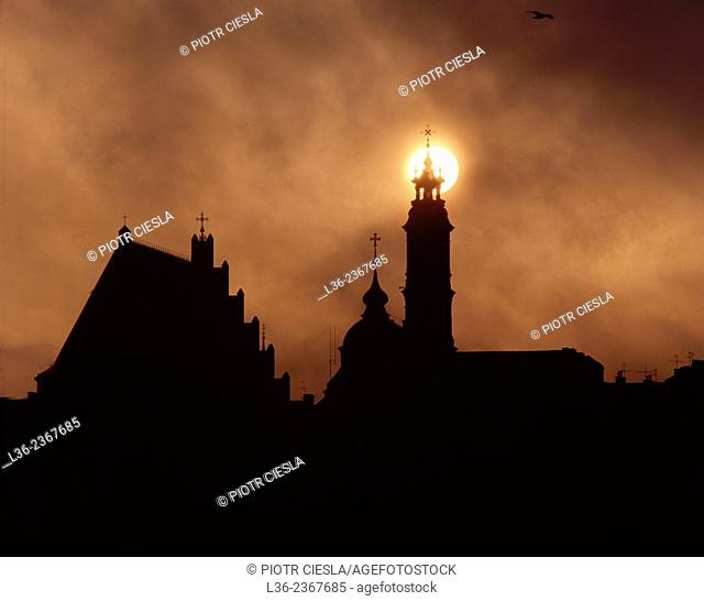 Poland. Warsaw. Old Town seen from the other side of Vistula river. The cathedral