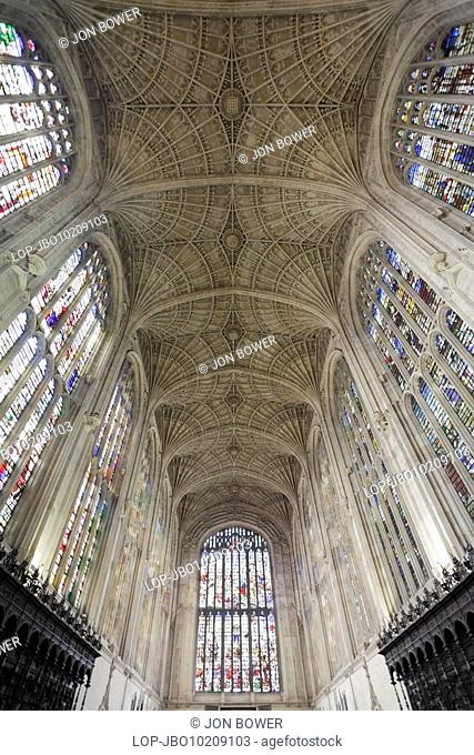 England, Cambridgeshire, Cambridge, Interior of King's College Chapel, Cambridge. The foundation stone of the Chapel was laid on the feast of St James