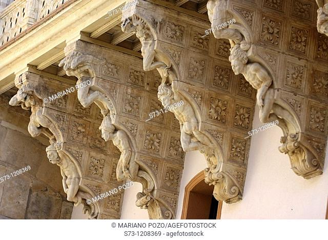 Brackets in the courtyard of Fonseca College Palace, Salamanca, Spain