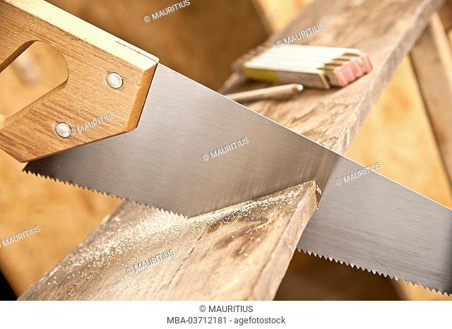 Garage, wooden saw, saw, folding rule, wooden board, cut