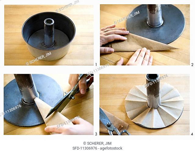 Baking paper being cut into a ring