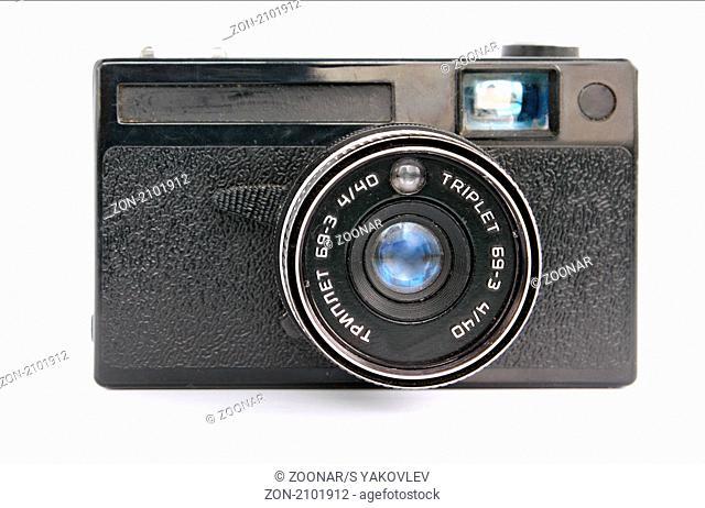 retro camera on white background