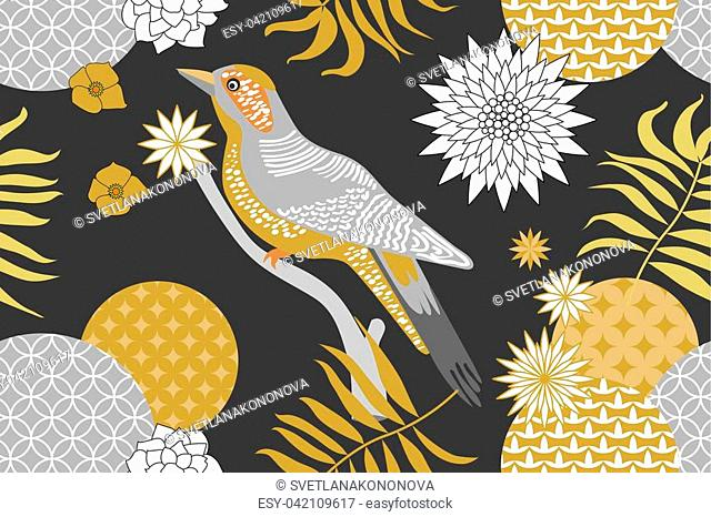 Abstract flowers and palm leaves on grey background. Oriental textile collection