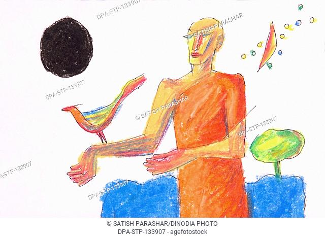 Ascetic with bird and black sun oil pastel on paper