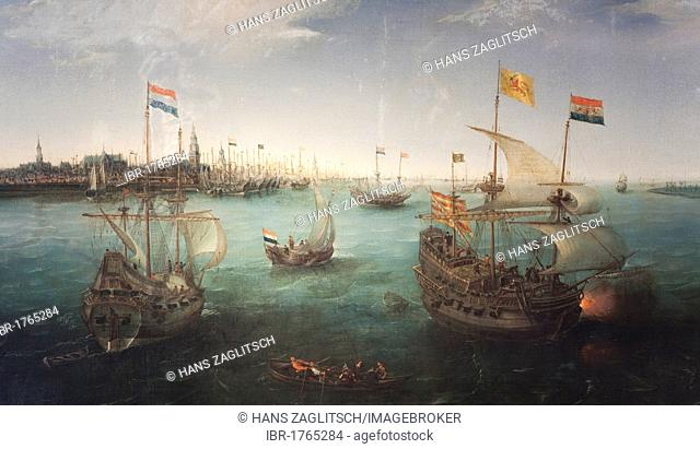 View over the IJ river westbound, painted by Hendrick Cornelisz Vroom between 1607 and 1611, Amsterdam, Holland region, Netherlands, Europe