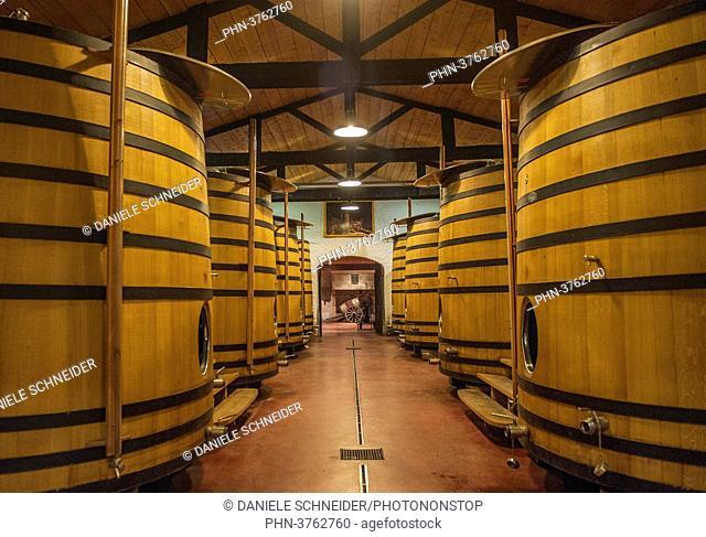South West France, PDO wine Graves de Pessac-Leognan vineyard, fermentation room. Mandatory credit: Smith-Haut-Lafitte castle