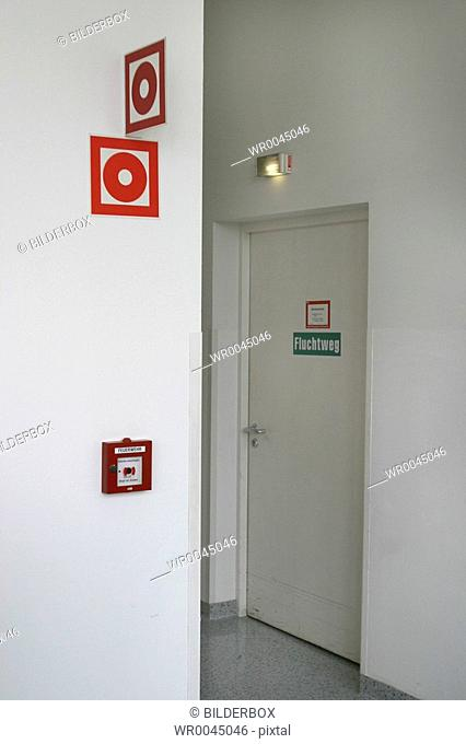 Fire detector and escape route - fire door