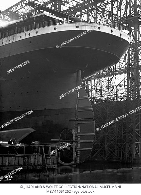 Stern view from Victoria Wharf. Ship No: 433. Name: Britannic. Type: Passenger Ship. Tonnage: 48158. Launch: 26 February 1914
