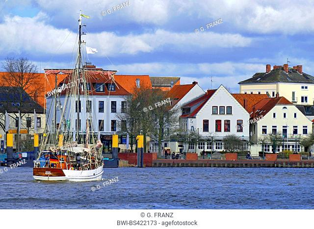 ketch Orion in front of Utkiek in Bremen Vegesack, Germany, Bremen
