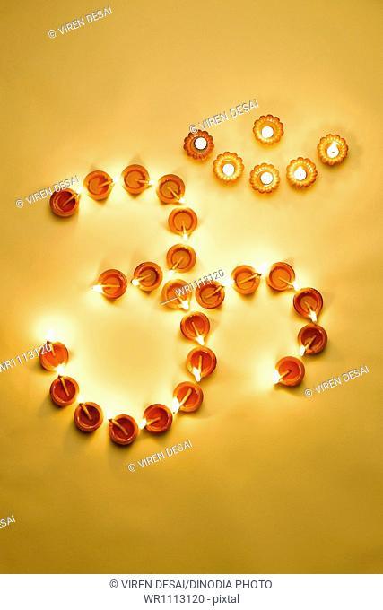 Divas in Om shape on the occasion of Diwali Festival pune Maharashtra India Asia
