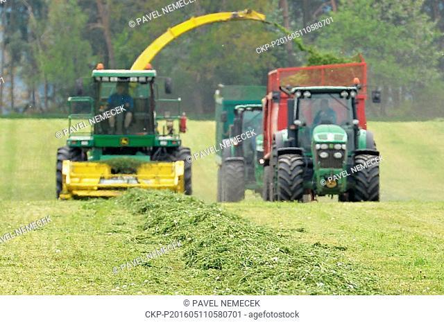 Farmers use their combine and tractors to harvest alfalfa (Medicago sativa) in Stichovice near Plzen, Czech Republic, May 11, 2016