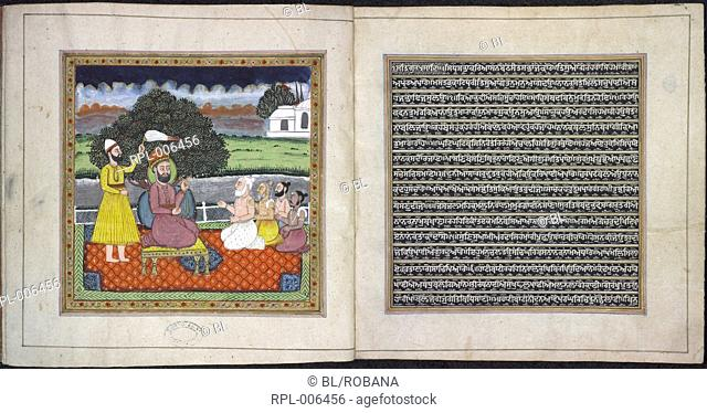 Guru Nanak the founder of the Sikh religion in dispute with Hindu holymen. This manuscript consists of three compositions from the Adi Granth one by Guru Nanak...