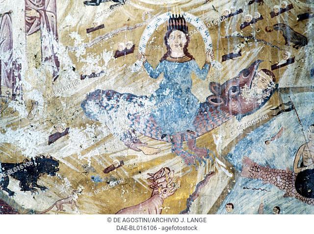 Scenes of the Apocalypse, fresco in the church of the Kaymakli Monastery, Trabzon, Black Sea region, Turkey. Armenian civilization, 17th-18th century
