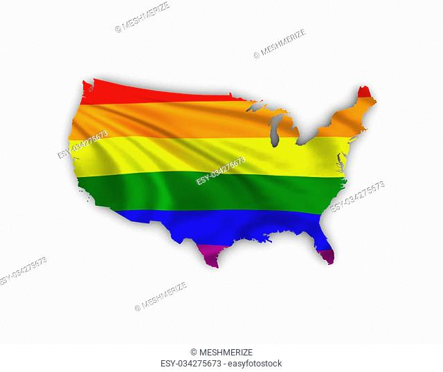 World map showing a rainbow flag and including a clipping path. High quality 3D illustration