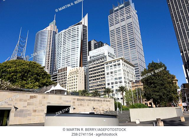 Sydney Conservatorium of Music and high rise skyscrapers in the city centre