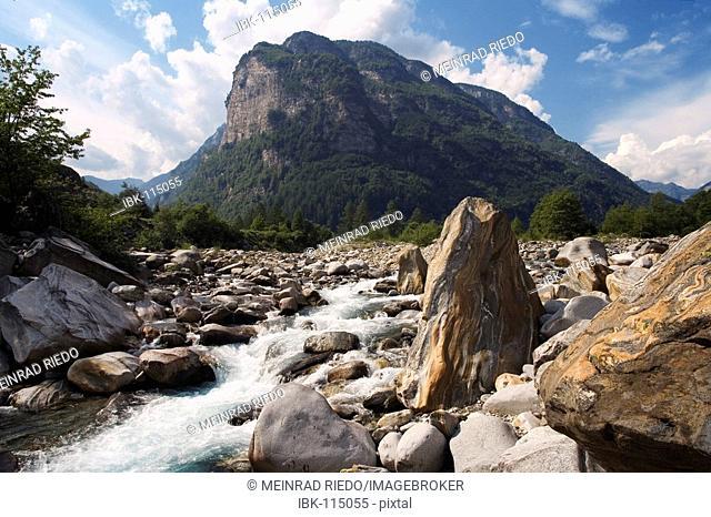 The mountain brook Verzasca near Brione in the Verzasca valley, canton Tessin, Switzerland