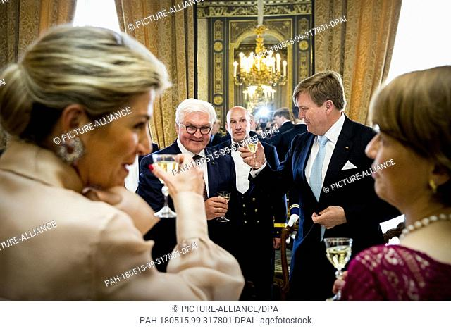 King Willem-Alexander and Queen Maxima of The Netherlands host an lunch for German President Frank-Walter Steinmeier and his wife Elke Budenbender at Palace...