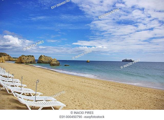 Rocks and cruise in Rocha beach, Algarve