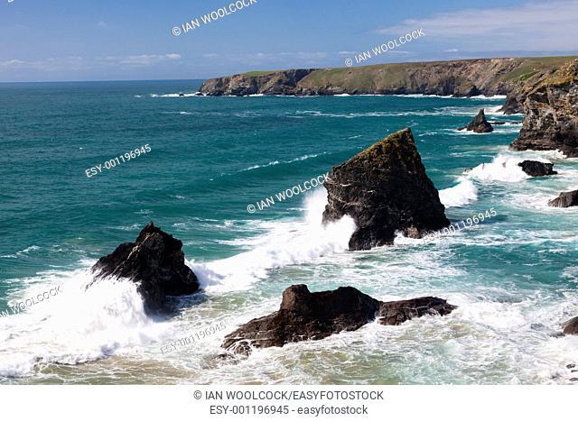 Crashing waves at Bedruthan Steps Cornwall England