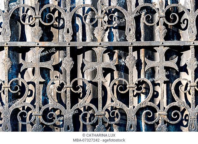 Poland, Wroclaw, island of Ostrów Tumski, Church of the Holy Cross, fence, wrought-iron