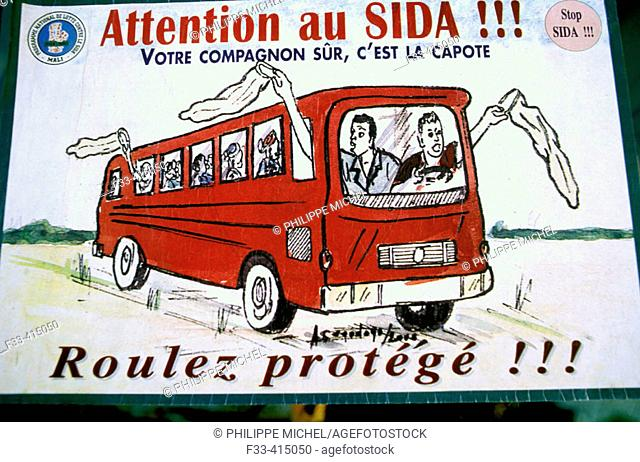 Ad promoting the use of condom against AIDS on bus. Djenne, Mali