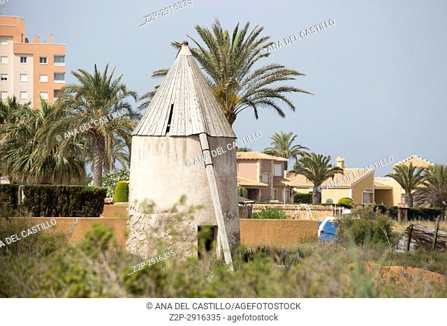 Old windmill La Manga del mar menor Cartagena Spain