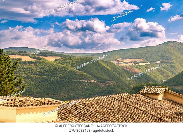 view of the ancient roofs of Assisi (Italy)