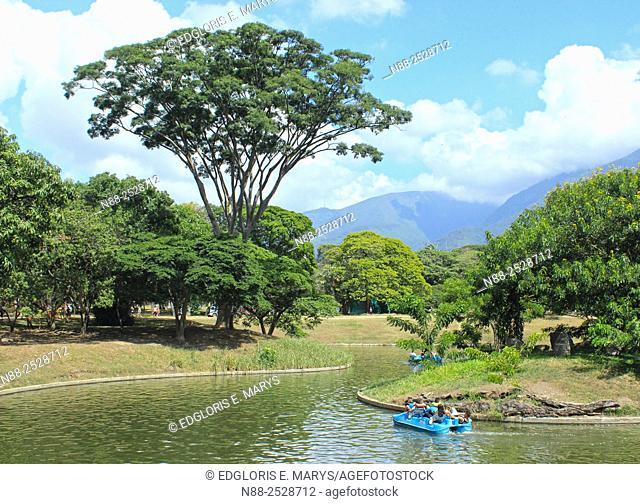 People boating in boat lake, Parque del Este, Caracas, Venezuela