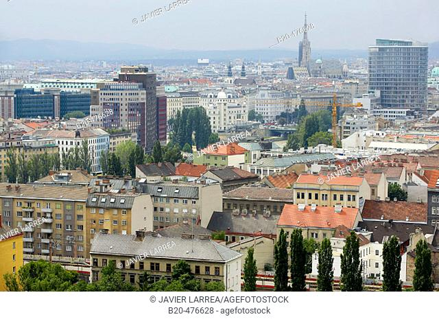 General view from 'riesenrad' (giant ferris wheel), the Prater, Vienna. Austria