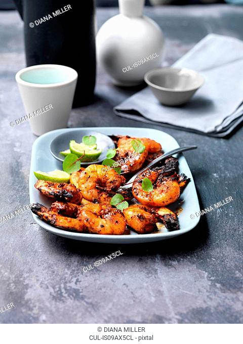 Sweet and smokey chargrilled prawns on plate