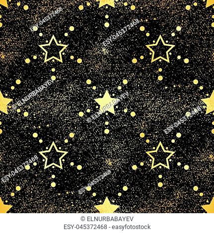 Gold star seamless pattern. Abstract black modern seamless pattern with gold confetti stars. Shiny background. Texture of gold foil